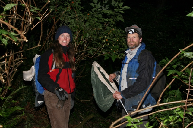 Alan Warnake and Michelle Ramsden luring night insects. photo by: Ed Otto