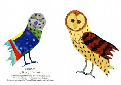 Artwork from a student in Vashon's artful 4th grade birding program